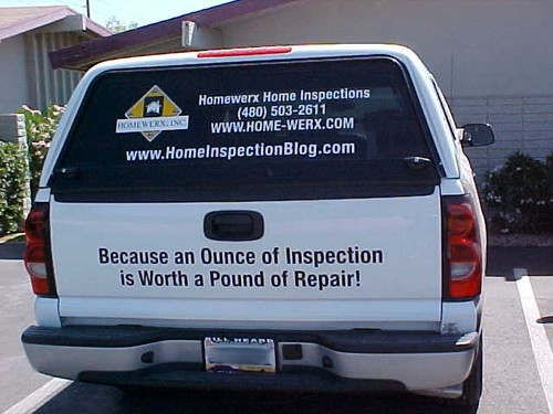 Homewerx Home Inspection truck - remember to have your home inspected prior to purchase, and regularly during ownership.  Because an ounce of inspection is worth a pound of repair!